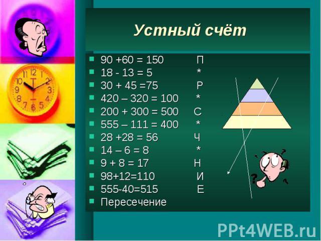 Устный счёт 90 +60 = 150 П 18 - 13 = 5 * 30 + 45 =75 Р 420 – 320 = 100 * 200 + 300 = 500 С 555 – 111 = 400 * 28 +28 = 56 Ч 14 – 6 = 8 * 9 + 8 = 17 Н 98+12=110 И 555-40=515 Е Пересечение