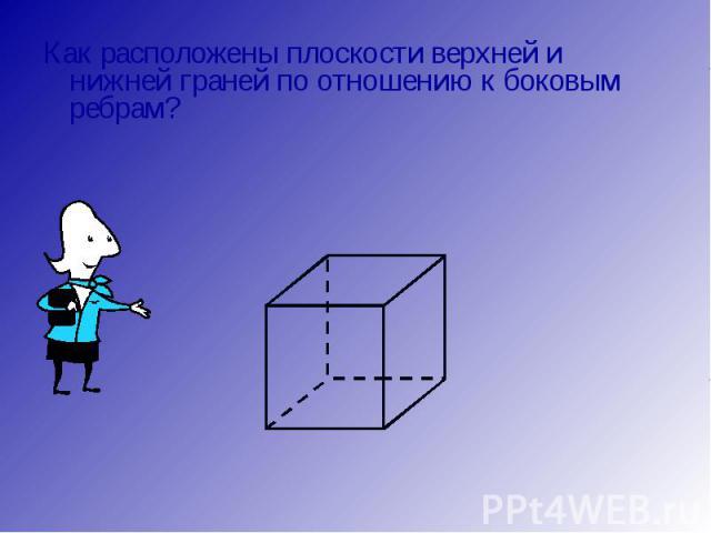 Как расположены плоскости верхней и нижней граней по отношению к боковым ребрам? Как расположены плоскости верхней и нижней граней по отношению к боковым ребрам?