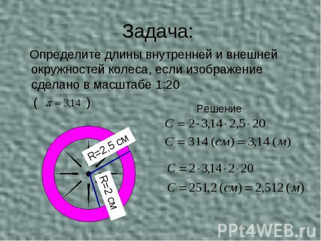 Задача: Определите длины внутренней и внешней окружностей колеса, если изображение сделано в масштабе 1:20 ( )