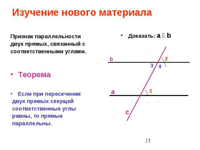 Изучение нового материала Признак параллельности двух прямых, связанный с соответственными углами. Теорема Если при пересечении двух прямых секущей соответственные углы равны, то прямые параллельны.