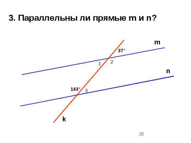 3. Параллельны ли прямые m и n?