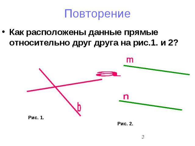 Повторение Как расположены данные прямые относительно друг друга на рис.1. и 2?