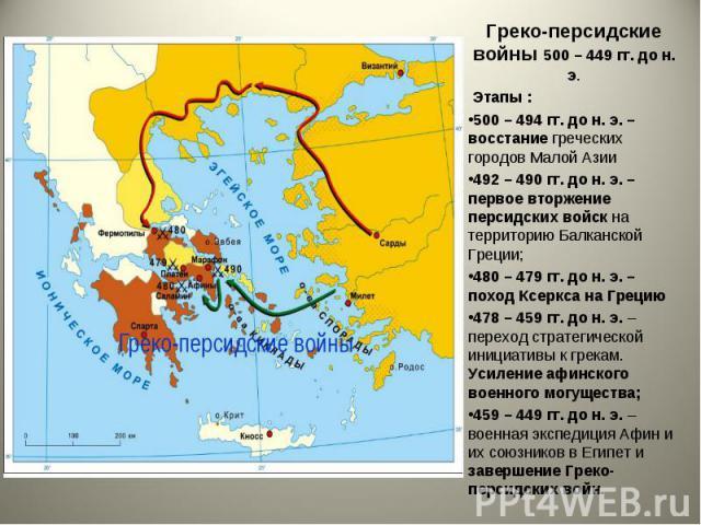 Греко-персидские войны 500 – 449 гг. до н. э. Греко-персидские войны 500 – 449 гг. до н. э. Этапы : 500 – 494 гг. до н. э. – восстание греческих городов Малой Азии 492 – 490 гг. до н. э. – первое вторжение персидских войск на территорию Балканской Г…