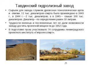 Тавдинский гидролизный завод Сырьем для завода служили древесная технологическая