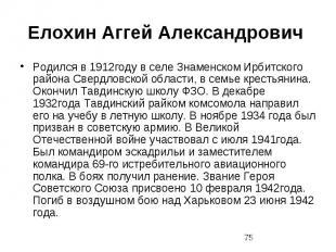 Елохин Аггей Александрович Родился в 1912году в селе Знаменском Ирбитского район