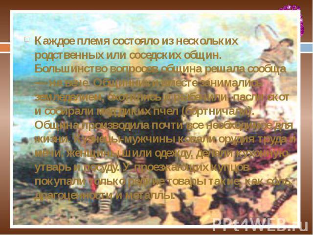 Каждое племя состояло из нескольких родственных или соседских общин. Большинство вопросов община решала сообща — на вече. Общинники вместе занимались земледелием, охотились и рыбачили, пасли скот и собирали мед диких пчел (бортничали). Община произв…