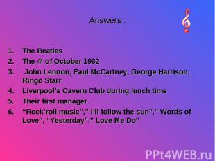 The Beatles The Beatles The 4th of October 1962 John Lennon, Paul McCartney, Geo