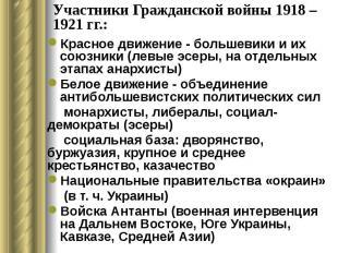 Участники Гражданской войны 1918 – 1921 гг.: Красное движение - большевики и их