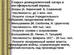 Социал-демократический лагерь в постфевральский период: Эсеры (А. Керенский. Б.