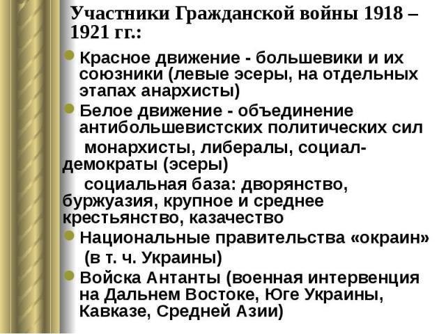 Участники Гражданской войны 1918 – 1921 гг.: Красное движение - большевики и их союзники (левые эсеры, на отдельных этапах анархисты) Белое движение - объединение антибольшевистских политических сил монархисты, либералы, социал-демократы (эсеры) соц…