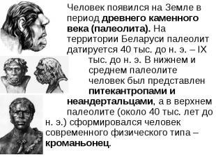 Человек появился на Земле в период древнего каменного века (палеолита). На терри