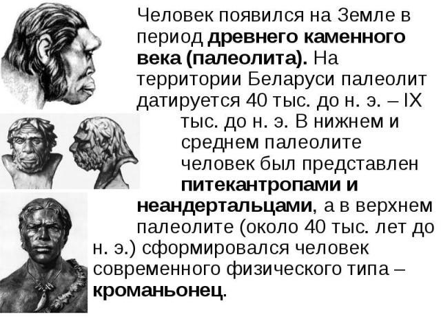 Человек появился на Земле в период древнего каменного века (палеолита). На территории Беларуси палеолит датируется 40 тыс. до н. э. – ІХ тыс. до н. э. В нижнем и среднем палеолите человек был представлен питекантропами и неандертальцами, а в верхнем…