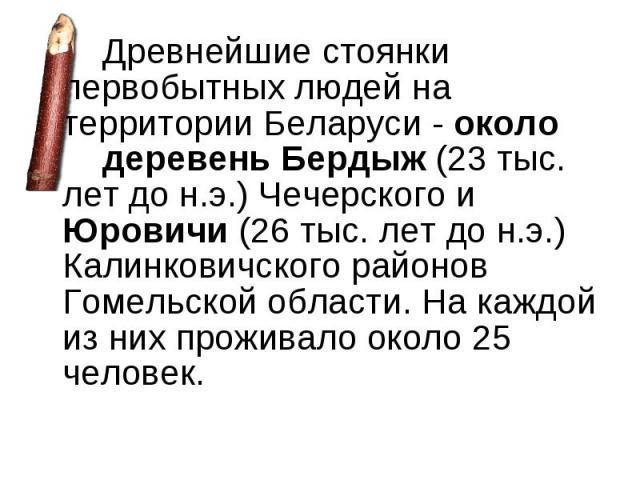Древнейшие стоянки первобытных людей на территории Беларуси - около деревень Бердыж (23 тыс. лет до н.э.) Чечерского и Юровичи (26 тыс. лет до н.э.) Калинковичского районов Гомельской области. На каждой из них проживало около 25 человек. Древнейшие …