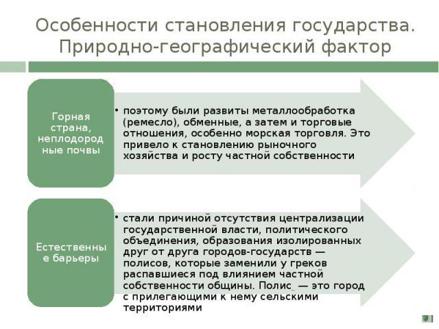 Особенности становления государства. Природно-географический фактор