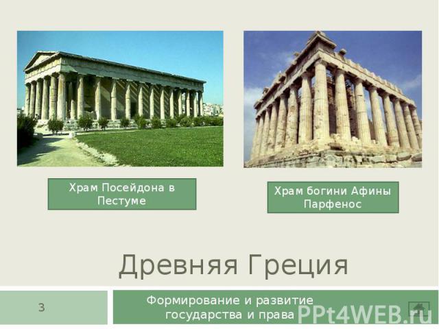 Древняя Греция Формирование и развитие государства и права