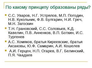 С.С. Уваров, Н.Г. Устрялов, М.П. Погодин, Н.В. Кукольник, Ф.В. Булгарин, Н.И. Гр
