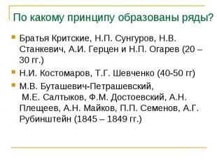Братья Критские, Н.П. Сунгуров, Н.В. Станкевич, А.И. Герцен и Н.П. Огарев (20 –