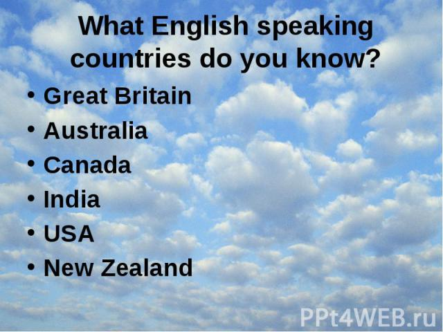 What English speaking countries do you know? Great Britain Australia Canada India USA New Zealand