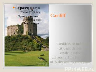 Cardiff Cardiff is an industrial city, which also has a castle, a cathedral, a u