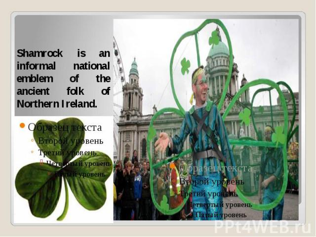 Shamrock is an informal national emblem of the ancient folk of Northern Ireland.