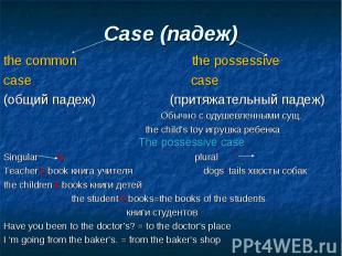 the common the possessive the common the possessive case case (общий падеж) (при