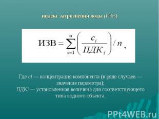 индекс загрязнения воды (ИЗВ)