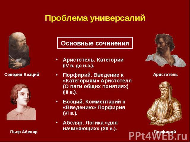 Аристотель. Категории (IV в. до н.э.). Аристотель. Категории (IV в. до н.э.). Порфирий. Введение к «Категориям» Аристотеля (О пяти общих понятиях) (III в.). Боэций. Комментарий к «Введению» Порфирия (VI в.). Абеляр. Логика «для начинающих» (XII в.).