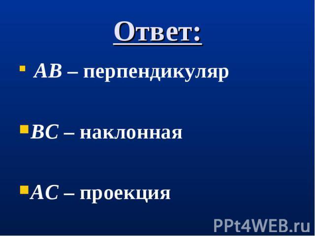 АВ – перпендикуляр АВ – перпендикуляр ВС – наклонная АС – проекция