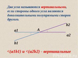 Два угла называются вертикальными, если стороны одного угла являются дополнитель