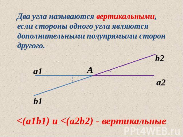 Два угла называются вертикальными, если стороны одного угла являются дополнительными полупрямыми сторон другого. Два угла называются вертикальными, если стороны одного угла являются дополнительными полупрямыми сторон другого.
