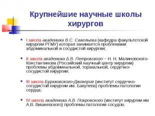 Крупнейшие научные школы хирургов I школа академика В.С. Савельева (кафедра факу
