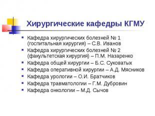 Хирургические кафедры КГМУ Кафедра хирургических болезней № 1 (госпитальная хиру