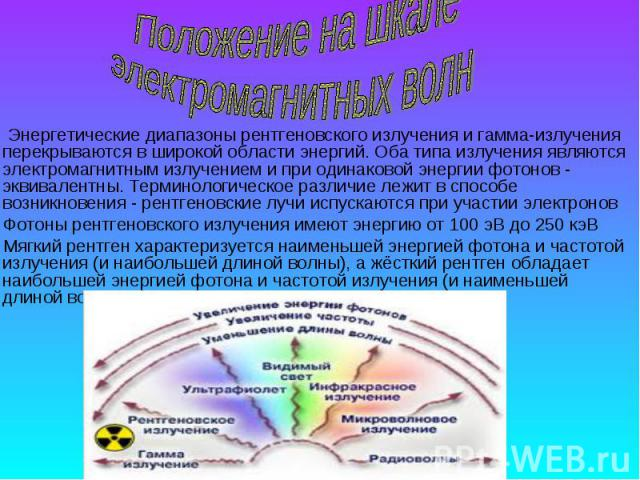 Энергетические диапазоны рентгеновского излучения и гамма-излучения перекрываются в широкой области энергий. Оба типа излучения являются электромагнитным излучением и при одинаковой энергии фотонов - эквивалентны. Терминологическое различие лежит в …