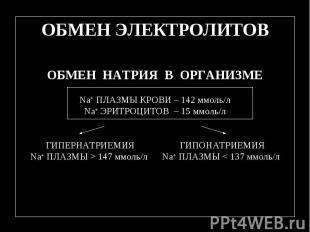 ОБМЕН ЭЛЕКТРОЛИТОВ ОБМЕН НАТРИЯ В ОРГАНИЗМЕ Na+ ПЛАЗМЫ КРОВИ – 142 ммоль/л Na+ Э