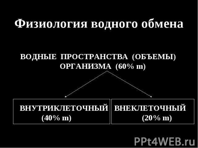 Физиология водного обмена Физиология водного обмена ВОДНЫЕ ПРОСТРАНСТВА (ОБЪЕМЫ) ОРГАНИЗМА (60% m) ВНУТРИКЛЕТОЧНЫЙ ВНЕКЛЕТОЧНЫЙ (40% m) (20% m)