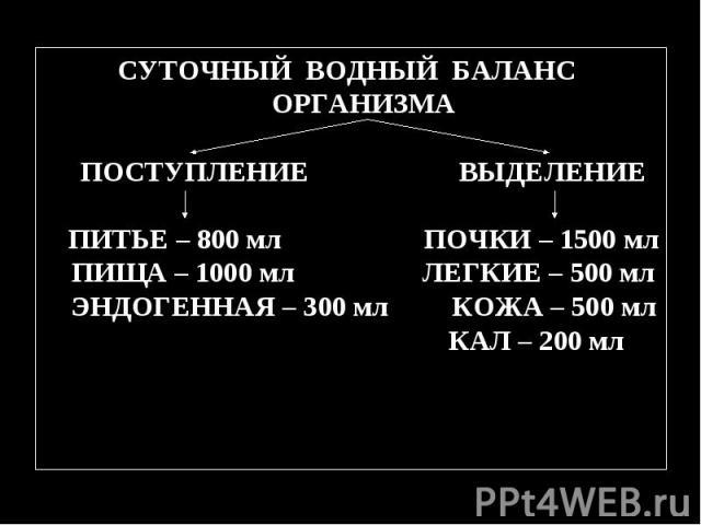 СУТОЧНЫЙ ВОДНЫЙ БАЛАНС ОРГАНИЗМА ПОСТУПЛЕНИЕ ВЫДЕЛЕНИЕ ПИТЬЕ – 800 мл ПОЧКИ – 1500 мл ПИЩА – 1000 мл ЛЕГКИЕ – 500 мл ЭНДОГЕННАЯ – 300 мл КОЖА – 500 мл КАЛ – 200 мл СУТОЧНЫЙ ВОДНЫЙ БАЛАНС ОРГАНИЗМА ПОСТУПЛЕНИЕ ВЫДЕЛЕНИЕ ПИТЬЕ – 800 мл ПОЧКИ – 1500 мл…