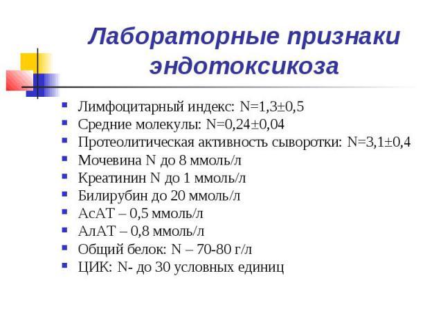 Лабораторные признаки эндотоксикоза Лимфоцитарный индекс: N=1,3±0,5 Средние молекулы: N=0,24±0,04 Протеолитическая активность сыворотки: N=3,1±0,4 Мочевина N до 8 ммоль/л Креатинин N до 1 ммоль/л Билирубин до 20 ммоль/л АсАТ – 0,5 ммоль/л АлАТ – 0,8…