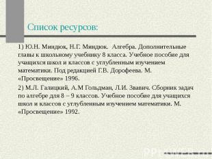 Список ресурсов: 1) Ю.Н. Миндюк, Н.Г. Миндюк. Алгебра. Дополнительные главы к шк