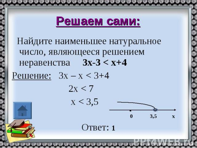 Решаем сами: Найдите наименьшее натуральное число, являющееся решением неравенства 3х-3 < х+4 Решение: 3х – х < 3+4 2х < 7 х < 3,5 0 3,5 х Ответ: 1