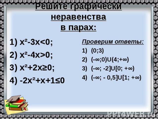Решите графически неравенства в парах: 1) х²-3х<0; 2) х²-4х>0; 3) х²+2х≥0; 4) -2х²+х+1≤0