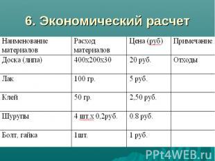 6. Экономический расчет