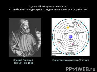 С древнейших времен считалось, что небесные тела движутся по «идеальным кривым»