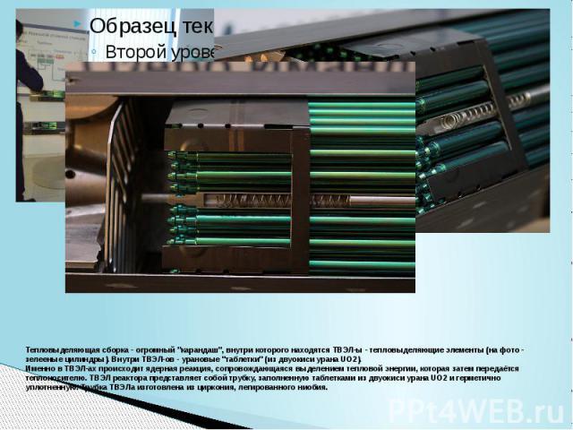 """Тепловыделяющая сборка - огромный """"карандаш"""", внутри которого находятся ТВЭЛ-ы - тепловыделяющие элементы (на фото - зелееные цилиндры). Внутри ТВЭЛ-ов - урановые """"таблетки"""" (из двуокиси урана UO2). Именно в ТВЭЛ-ах происходит яд…"""