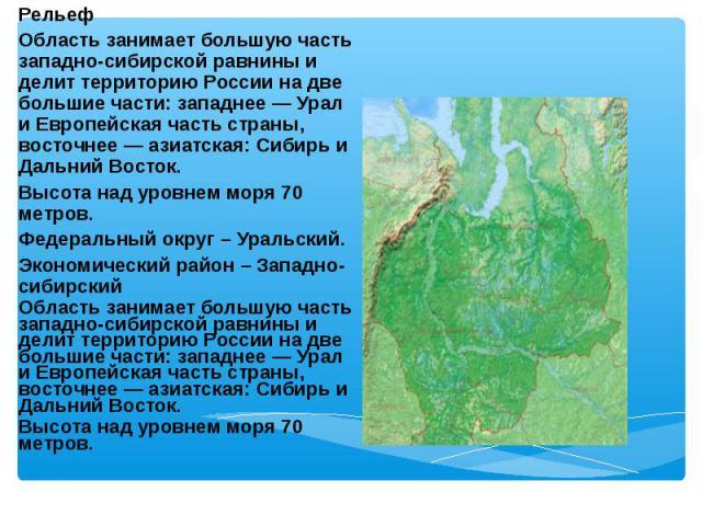 Рельеф Рельеф Область занимает большую часть западно-сибирской равнины и делит территорию России на две большие части: западнее — Урал и Европейская часть страны, восточнее — азиатская: Сибирь и Дальний Восток. Высота над уровнем моря 70 метров. Фед…