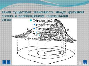 Какая существует зависимость между крутизной склона и расположением горизонталей