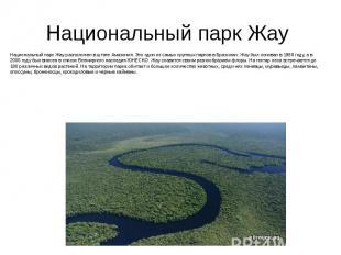 Национальный парк Жау Национальный парк Жау расположен в штате Амазония. Это оди