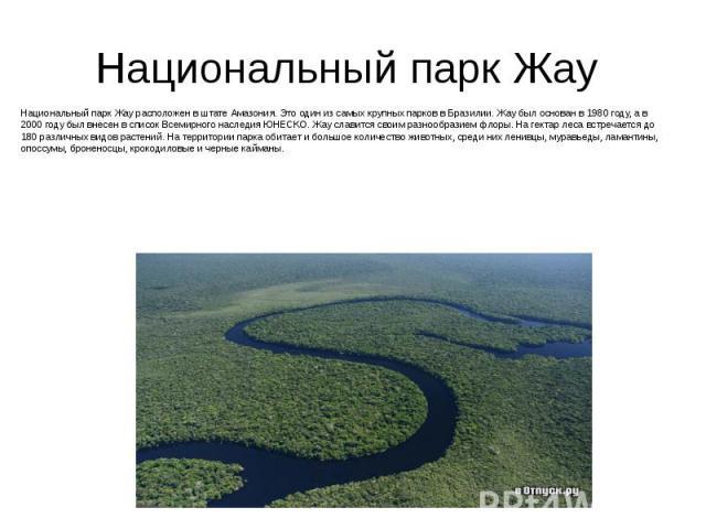 Национальный парк Жау Национальный парк Жау расположен в штате Амазония. Это один из самых крупных парков в Бразилии. Жау был основан в 1980 году, а в 2000 году был внесен в список Всемирного наследия ЮНЕСКО. Жау славится своим разнообразием флоры. …