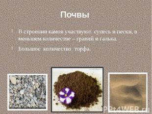 Почвы В строении камов участвуют супесь и пески, в меньшем количестве – гравий и