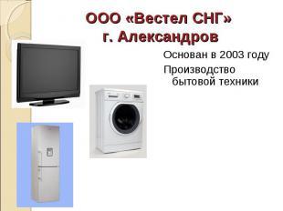 Основан в 2003 году Основан в 2003 году Производство бытовой техники