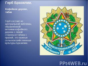 Герб состоит из центральной эмблемы, обрамлённой ветвямикофейного дерева с
